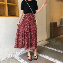 skirt Spring 2021 Average size Red, black Mid length dress Versatile