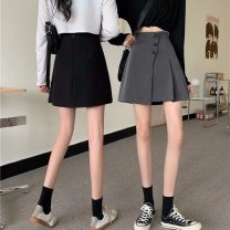 skirt Spring 2021 S,M,L Gray, black Short skirt commute High waist A-line skirt Solid color Type A 18-24 years old 71% (inclusive) - 80% (inclusive) polyester fiber Button Korean version