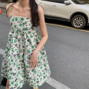 Dress Summer 2020 Light green S, M Mid length dress singleton  Sleeveless commute One word collar High waist Broken flowers Socket A-line skirt routine camisole 18-24 years old Type A Other / other Korean version printing 81% (inclusive) - 90% (inclusive) other polyester fiber