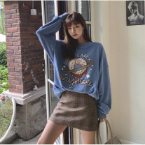 Sweater / sweater Spring 2021 Blue, brown S,M,L,XL Long sleeves routine Socket singleton  routine Crew neck easy commute routine Cartoon animation 18-24 years old 96% and above Other / other Korean version cotton printing cotton Cotton liner