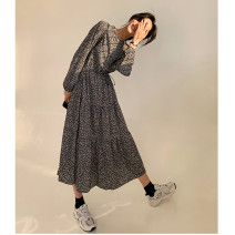 Dress Spring 2021 Black, brown S,M,L longuette singleton  Long sleeves commute Crew neck High waist Broken flowers Socket A-line skirt bishop sleeve Others 18-24 years old Type A Other / other Korean version printing 51% (inclusive) - 70% (inclusive) Chiffon polyester fiber