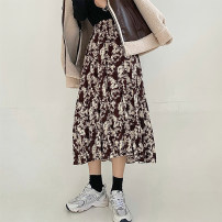 skirt Spring 2021 S,M,L Black, brown Mid length dress commute High waist A-line skirt Broken flowers Type A 18-24 years old 91% (inclusive) - 95% (inclusive) Chiffon Other / other polyester fiber printing Retro