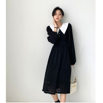 Dress Spring 2021 Black, off white S,M,L Mid length dress singleton  Long sleeves commute Doll Collar High waist Solid color Socket A-line skirt routine Others 18-24 years old Type A Other / other Korean version Lace 51% (inclusive) - 70% (inclusive) Lace cotton