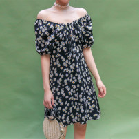 Dress Summer 2020 black S, M Mid length dress singleton  Short sleeve commute One word collar High waist Broken flowers Socket other puff sleeve Others 18-24 years old Type A Other / other Korean version Strap, printed 81% (inclusive) - 90% (inclusive) Chiffon polyester fiber