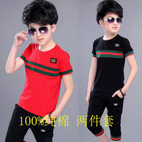 suit Other / other male summer leisure time Short sleeve + pants 2 pieces routine There are models in the real shooting Socket nothing Solid color cotton children Giving presents at school Class B 14, 3, 5, 9, 12, 7, 8, 6, 13, 11, 4, 10 Chinese Mainland