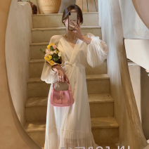 Dress Spring 2021 Apricot S,M,L,XL Mid length dress singleton  Long sleeves commute V-neck High waist Solid color Socket A-line skirt puff sleeve 18-24 years old Type A Simplicity 51% (inclusive) - 70% (inclusive) Chiffon