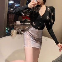 skirt Winter of 2019 S,M,L Pink Short skirt street High waist Pencil skirt Solid color Type H 18-24 years old B458 31% (inclusive) - 50% (inclusive) other Other / other other Hot drilling Europe and America