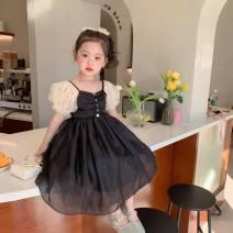 Dress black female ALICING 90cm,100cm,110cm,120cm,130cm,140cm Other 100% summer Korean version Solid color cotton Princess Dress 2 years old, 3 years old, 4 years old, 5 years old, 6 years old, 7 years old, 8 years old Chinese Mainland Zhejiang Province Huzhou City