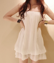 Dress Summer 2021 [937] black, [937] white Average size Short skirt singleton  Sleeveless commute One word collar High waist Solid color Socket Ruffle Skirt other Breast wrapping 18-24 years old Type A Korean version Ruffles, open back, folds 51% (inclusive) - 70% (inclusive) Chiffon polyester fiber