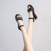 Sandals 34,35,36,37,38,39 Apricot, black Suede Other / other Barefoot Thick heel Middle heel (3-5cm) Summer 2020 Flat buckle leisure time Solid color Adhesive shoes Youth (18-40 years old) rubber daily Back space Buckles, sequins, rhinestones, stilettos, muffin heels, platform, Roman style Low Gang