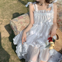 Dress Summer 2021 white S,M,L Mid length dress singleton  Sleeveless Sweet One word collar Loose waist Solid color Socket Big swing camisole Type A Bowknot, ruffle, tuck, open back, fold, Auricularia auricula, lace, stitching, three-dimensional decoration, bandage, wave, strap, zipper Bohemia