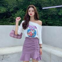 Fashion suit Spring 2021 S,M,L,XL,XXL White jacket, pink jacket, purple skirt, black skirt, white jacket + purple skirt, pink jacket + black skirt, tail goods will be delivered randomly 18-25 years old 96% and above