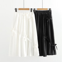 skirt Summer 2021 Average size White, black Mid length dress fresh High waist Splicing style Solid color N 71% (inclusive) - 80% (inclusive) cotton