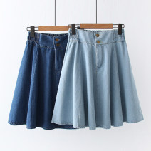 skirt Summer 2021 Average size Light, dark street A-line skirt Solid color Type A BF 71% (inclusive) - 80% (inclusive) Denim Europe and America