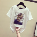 T-shirt White, black S. M, l, XL, 2XL, more than 500 pieces from 19.8 yuan Summer 2020 Short sleeve Crew neck easy routine commute other 31% (inclusive) - 50% (inclusive) Korean version youth character Other / other Sequin, patch
