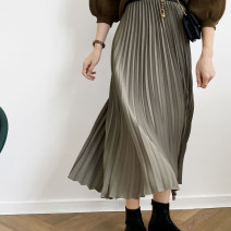 skirt Spring 2021 M, L It's black, milky white and grayish green Mid length dress commute High waist Pleated skirt Solid color Type A XH721 30% and below cotton fold Korean version