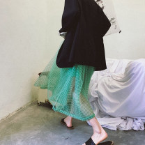 skirt Summer of 2019 S,M,L Light green Mid length dress street Natural waist Fluffy skirt lattice Type A 25-29 years old AG913066 More than 95% Ayukostyle polyester fiber fold Europe and America