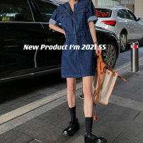 Dress Spring 2021 S,M,L Middle-skirt singleton  Short sleeve street Crew neck High waist Solid color Single breasted A-line skirt routine Others 25-29 years old Type H Ayukostyle Button 81% (inclusive) - 90% (inclusive) Denim cotton Europe and America
