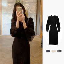 Dress Spring 2021 Apricot, Navy, black S,M,L,XL longuette singleton  Long sleeves commute Polo collar High waist Solid color Single breasted A-line skirt routine Others 18-24 years old Type A Korean version 91% (inclusive) - 95% (inclusive) other other