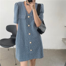 Dress Summer 2021 Blue, black Average size Short skirt singleton  Short sleeve V-neck Loose waist other Single breasted routine Others Button other