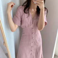 Dress Summer of 2019 Blue, pink S,M,L,XL Mid length dress singleton  Short sleeve commute V-neck High waist Solid color Socket A-line skirt routine Others 18-24 years old Type A Korean version 31% (inclusive) - 50% (inclusive) other other