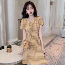 Dress Summer of 2019 Blue, yellow S,M,L,XL Short skirt singleton  Short sleeve commute V-neck High waist stripe Socket A-line skirt routine Type A Korean version Splicing