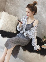 Dress Autumn of 2018 Black (single skirt), grey (single skirt), grey shirt (single shirt) S,M,L,XL Mid length dress Two piece set Long sleeves commute Crew neck High waist lattice Socket One pace skirt shirt sleeve camisole 18-24 years old Other / other Korean version More than 95% other