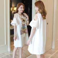 Dress Summer 2021 M,L,XL,2XL Middle-skirt singleton  Short sleeve commute Crew neck Loose waist character Socket A-line skirt routine Others 18-24 years old Type A Korean version Bandage, print 31% (inclusive) - 50% (inclusive)