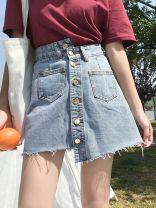 skirt Spring 2020 S,M,L,XL wathet Short skirt Versatile High waist Denim skirt Solid color Type H 18-24 years old EDFEE406 Denim Other / other