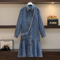Women's large Spring 2021 Blue / with bag L recommendation 100-120, 1XL recommendation 120-140, 2XL recommendation 140-160, 3XL recommendation 160-180, 4XL recommendation 180-200 Dress singleton  commute easy moderate Cardigan Long sleeves Solid color Korean version Polo collar Medium length Denim