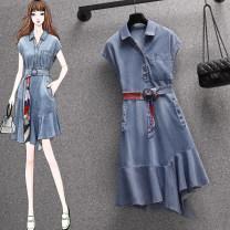 Dress Summer 2021 Denim dress M,L,XL,2XL,3XL,4XL Mid length dress Two piece set Short sleeve commute Polo collar High waist Solid color Irregular skirt Korean version Denim