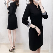 Dress Autumn of 2019 Black long sleeve S,M,L,XL,2XL,3XL Mid length dress singleton  Long sleeves commute V-neck High waist Solid color zipper One pace skirt routine Others 25-29 years old Type H Ol style 91% (inclusive) - 95% (inclusive) other nylon