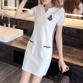 Women's large Summer 2021 White, black Dress singleton  commute Self cultivation moderate Socket Short sleeve Solid color Korean version V-neck Medium length Cotton, nylon Three dimensional cutting other pocket 31% (inclusive) - 50% (inclusive) Medium length