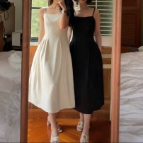 Dress Spring 2021 White, black, collection and purchase, delivery in advance S,M,L Mid length dress singleton  Sleeveless commute High waist Solid color zipper Big swing camisole 18-24 years old Type A Simplicity 30% and below polyester fiber