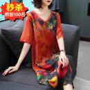 Dress Summer of 2019 Red (1202), green (1202), decor (1806), black red (1205), purple (1203), safflower (8806), blue gray (9878), decor 2 (9871) M,L,XL,2XL,3XL,4XL,5XL Mid length dress singleton  elbow sleeve commute V-neck Loose waist Decor Socket A-line skirt routine Type A AI Retro fold