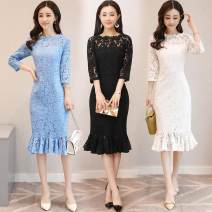 Dress Spring of 2018 White, blue, black S,M,L,XL,2XL longuette singleton  three quarter sleeve commute One word collar middle-waisted Solid color Socket One pace skirt routine Others Type H Korean version 81% (inclusive) - 90% (inclusive) Lace