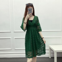 Dress Summer of 2018 White [high quality lace], green [high quality lace], black [high quality lace], yellow [high quality lace], pink [high quality lace], gray [high quality lace] S,M,L,XL,2XL,3XL Middle-skirt singleton  elbow sleeve commute V-neck Elastic waist Solid color Socket A-line skirt Lace