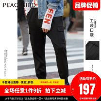 Casual pants Peacebird Fashion City Black, black 1 S,M,L,XL,XXL,XXXL,XXXXL routine trousers Other leisure Straight cylinder Micro bomb BWGBB2113 summer middle-waisted Other 100% Overalls Solid color other other