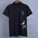 Polo shirt 2020 Other / other go to work Youth fashion routine standard summer Short sleeve youth Youthful vitality G4042C routine Cotton 95% polyurethane elastic fiber (spandex) 5% Cotton ammonia Embroidery Plants and flowers Embroidery 170/M,175/L,180/XL,185/XXL,190/XXXL black