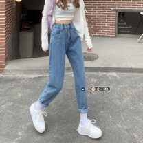 Jeans Summer 2021 blue S,M,L,XL trousers High waist Straight pants routine 18-24 years old Button, multiple pockets other Dark color 30% and below