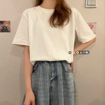 T-shirt M,L,XL,2XL Summer 2021 Short sleeve Crew neck easy Regular routine commute other 30% and below 18-24 years old Simplicity youth Solid color