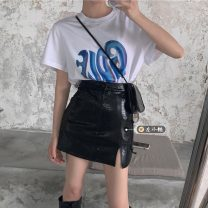 Fashion suit Summer 2021 S. M, average size White T-shirt, black T-shirt, small leather skirt 18-25 years old
