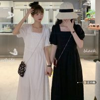 Dress Summer 2021 White, black Average size longuette singleton  Short sleeve commute square neck High waist Solid color other A-line skirt puff sleeve 18-24 years old Type H Korean version