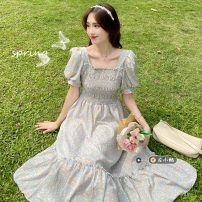 Dress Summer 2021 Blue, green Average size Mid length dress singleton  Short sleeve commute square neck High waist Broken flowers Socket Ruffle Skirt routine Others 18-24 years old Type A Korean version Ruffles, folds 30% and below other other