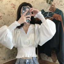 shirt Average size Spring 2021 other 30% and below Long sleeves commute Short style (40cm < length ≤ 50cm) V-neck Socket bishop sleeve Solid color 18-24 years old High waist type Korean version