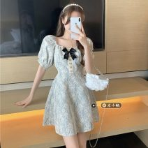 Dress Summer 2021 Blue, pink M, L Short skirt singleton  Short sleeve commute square neck High waist Broken flowers Socket A-line skirt routine Others 18-24 years old Type A Korean version 30% and below other other