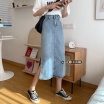 skirt Summer 2021 S,M,L,XL blue Mid length dress Retro High waist A-line skirt Solid color Type A 18-24 years old 30% and below other other