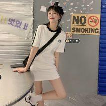 Dress Summer 2021 White dress, white short sleeve T-shirt, white skirt Average size Short skirt singleton  Short sleeve commute Crew neck Loose waist Solid color Socket A-line skirt routine 18-24 years old Type H Korean version
