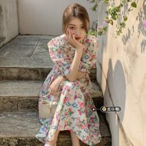 Dress Summer 2021 Floral Dress Average size Mid length dress singleton  Short sleeve commute Crew neck High waist Decor A-line skirt puff sleeve Others 18-24 years old Type A Korean version
