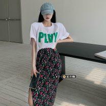 skirt Summer 2021 Average size T-shirt, skirt Mid length dress commute High waist A-line skirt Broken flowers Type A 18-24 years old Korean version